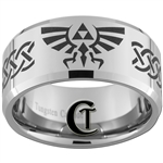 12mm Beveled Tungsten Carbide Zelda Goron Celtic Design
