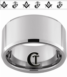 12mm Beveled Tungsten Alternating Masonic Square & Compass and Marines Eagle Globe & Anchor Design Ring
