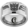 12mm Beveled Tungsten Carbide Decepticon Flag Design