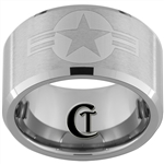 12mm Tungsten Carbide Beveled Satin Finish Navy Aviator and Air Force Star Roundel Symbols Ring.