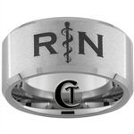12mm Beveled Tungsten Carbide Satin Registered Nurse Design.