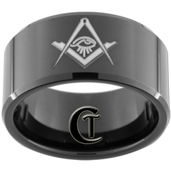 12mm Black Beveled Tungsten Carbide Masonic Square and Compass All Seeing Eye Design