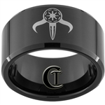 12mm Black Beveled Tungsten Carbide Sith Mandalorian Design