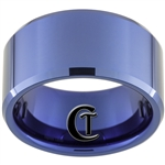 12mm Blue Beveled Tungsten Carbide Ring