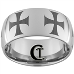 12mm Dome Tungsten Carbide Maltese Cross Design