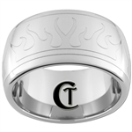 12mm Dome Tungsten Carbide Band Flames Design