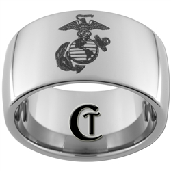 12mm Dome Tungsten Carbide Marines Eagle, Globe & Anchor Design Ring.