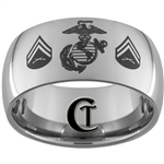 12mm Dome Tungsten Carbide Marine Corporal Design Ring.