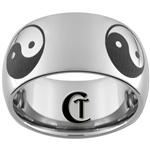 12mm Dome Tungsten Carbide Yin Yang Design