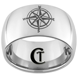 12mm Dome Tungsten Carbide Nautical Compass Design Ring.