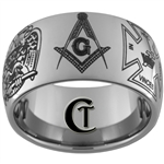 12mm Dome Tungsten Carbide Multiple Masonic Design