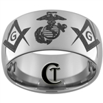 12mm Dome Tungsten Carbide Marines Masonic Design.
