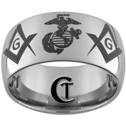 12mm Dome Tungsten Carbide Marines Masonic Design