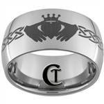 12mm Dome Tungsten Carbide Claddagh Design