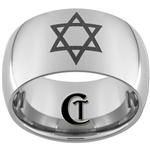 12mm Dome Tungsten Carbide Star Of David Design