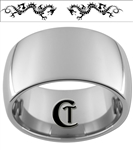 12mm Dome Tungsten Carbide Two Dragons Design Ring.