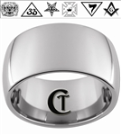 12mm Dome Tungsten Carbide Masonic Eastern Star Design
