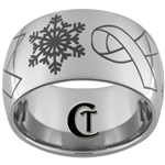 12mm Dome Tungsten Carbide Myasthenia Gravis Snowflake Awareness Ribbon Ring Design.