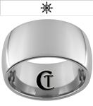 12mm Dome Tungsten Carbide Band Chaos Design