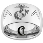 12mm Dome Tungsten Carbide MARINES Symbol & Private Rank Design