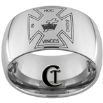 12mm Dome Tungsten Carbide Masonic- In Hoc Signo Vinces Design