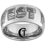 12mm Dome Tungsten Carbide Army American Flag WEST POINT Letters Design Ring.