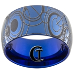 12mm Blue Dome Tungsten Carbide Doctor Who Gallifreyan Design.