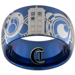 12mm Blue Dome Tungsten Carbide Doctor Who Tardis & Gallifreyan Design