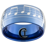 12mm Blue Dome Tungsten Carbide Laser Music Bar Design