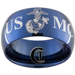 12mm Blue Dome Tungsten Carbide Marines Eagle, Globe & Anchor Vietnam War Design.