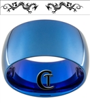 12mm Blue Dome Tungsten Carbide Laser Dragon Design