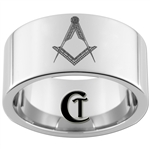 12mm Pipe Tungsten Carbide Masonic Design