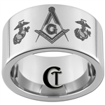 12mm Pipe Tungsten Carbide Masonic Marines Design.