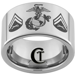 12mm Pipe Tungsten Carbide Marines Corporal Design Ring.