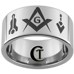 12mm Pipe Tungsten Carbide Freemason Masonic Design