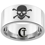 12mm Pipe Tungsten Carbide Skull and Crossbones Design