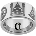 12mm Pipe Tungsten Carbide Army and Masonic Design Ring.
