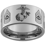 12mm Pipe Tungsten Carbide Multiple Alternating Marines Symbols and Master Sergeant Rank Designs.