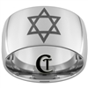 14mm Dome Tungsten Carbide Star Of David Design