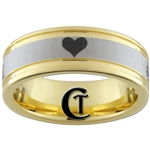 8mm Pipe Gold Two-Tone Tungsten Carbide Heart Design