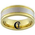8mm Pipe Gold Two-Tone Tungsten Carbide Design