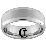 8mm Double Beveled Tungsten Carbide Band With Satin Finish