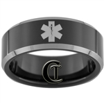 8mm Black Beveled Two-Toned Tungsten Carbide Medical Alert Design