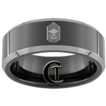 8mm Black Beveled Two-Toned Tungsten Carbide Air Force Chief Master Sergeant Rank Design Ring