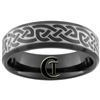 **Clearance** 7mm Black Beveled Tungsten Carbide Celtic Design - Limited Sizes - 15