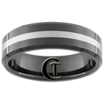 **Clearance** 7mm Black Beveled Tungsten Carbide Laser Line Design - Limited Sizes - 14