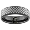 **Clearance** 7mm Black Beveled Tungsten Carbide Checker NASCAR Design - Sizes 7 1/2, 10 1/2, 12 1/2, 13 1/2