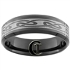 **Clearance** 7mm Black Beveled Tungsten Carbide Celtic Design - Limited Sizes - 14