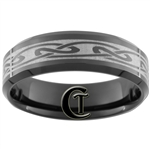 **Clearance** 7mm Black Beveled Tungsten Carbide Celtic Design - Limited Sizes