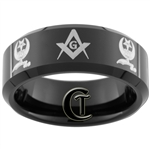 **Clearance**8mm Black Beveled Tungsten Carbide Masonic Design - Sizes 8, 9, 14 1/2